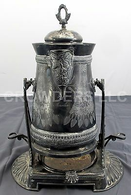 "Antique Meriden B Co June 1868 17.5"" Tilting Silverplate Samovar Coffee Pot Urn"