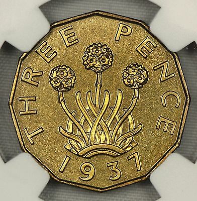 Ngc Pf65 1937 Great Britain Brass Threepence Uk 3P  Proof  (Sp09)