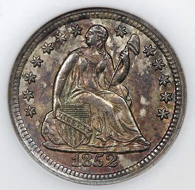 Old Ngc Slab Ms65 1852 Seated Liberty Half Dime H10C Toned (Uex)