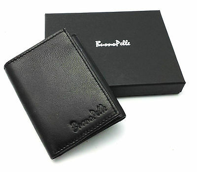 Mens Quality Soft Real Leather Black Trifold Wallet Credit Card & Id Holder Box