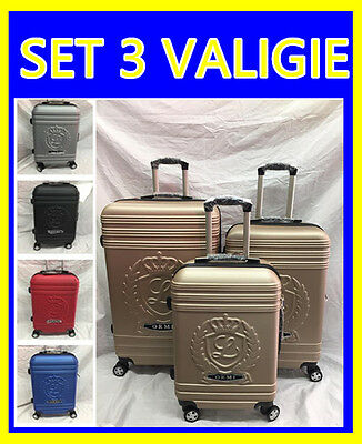 Valigie Set 3 Trolley In Abs  Con 8 Ruote Autonome Valigia Rigida