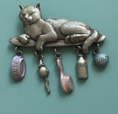 Adorable Vintage Signed JJ Cat  With 5 Dangles Brooch In Pewter Tone Metal