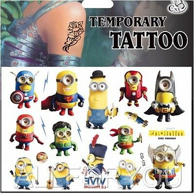 1x Minions Temporary Tattoo Sheet Children Kids Birthday Party Bag Filler