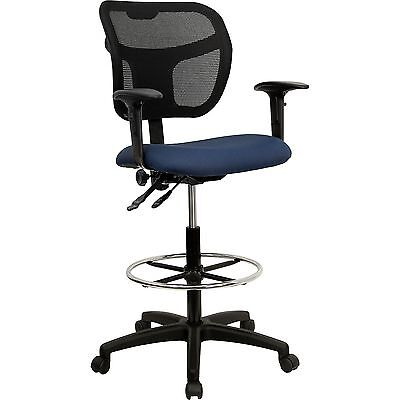 Navy Blue Fabric Mesh Drafting Stool Ajustable Pneumatic Seat Chair w/ Arms