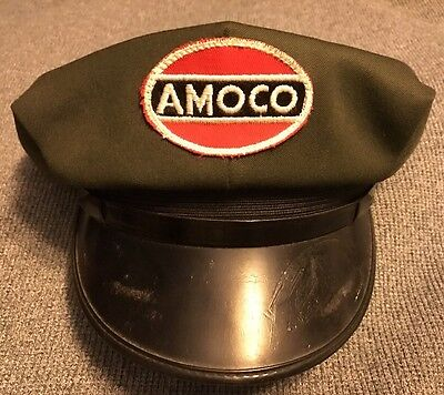 Rare Vintage Amoco Gas Station Pump Service Attendant Hat Cap Gas Oil Immaculate