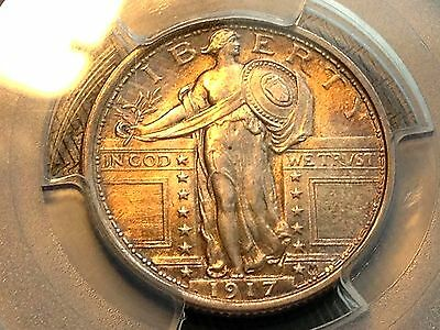 1917 Ty. 1 Standing Liberty Quarter PCGS MS65 FH Golden Toned Beauty CHN!