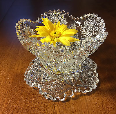 Cut glass flower float dish with stand
