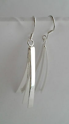 New Ladies 925 Sterling Silver Large Triple Curved Strips Earrings 45mm Godsent
