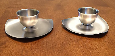 Pair stainless steel egg cups