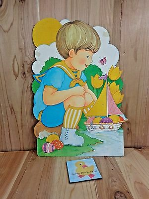 """Vintage EASTER Paper Decoration BOY BOAT OF EGGS Yellow Flocked 18"""" x 13"""""""