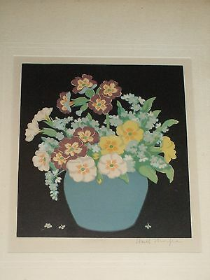 Hall Thorpe coloured woodcut, prmroses, signed, all original