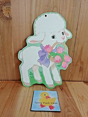 """Vintage Paper Decoration EASTER LAMB with Basket of Pink Tulips 12"""" x 9"""" USA"""
