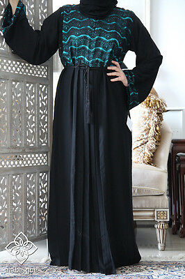 DUBAI STYLE CLOSED BELTED Abaya Burkha Jalabiya Farasha Maxi Kaftan Dress LACE