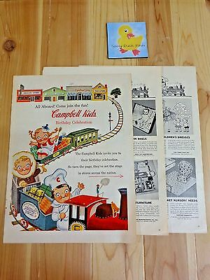 Vintage Magazine Ad CAMPBELL SOUP KIDS PREMIUMS 1957 Six Pages Colored