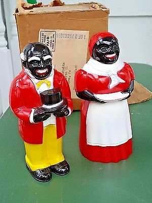 Vintage Nos Mib Never Used F&f Plastic Red Salt And Pepper Shakers Original Box