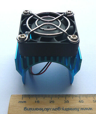 Blue Aluminium heatsink for 540/550/3650 motor 5v fan - RC car/buggy/drone/Lipo