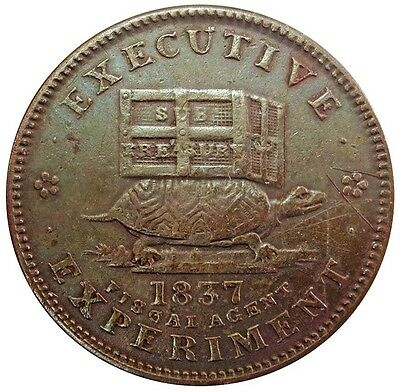 1837 Us Hard Times Executive Experiment Turtle / Jackass Token Ht 32
