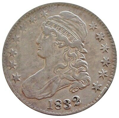 1832 Silver Us Large Letters Capped Bust Half Dollar Coin Extra Fine Condition