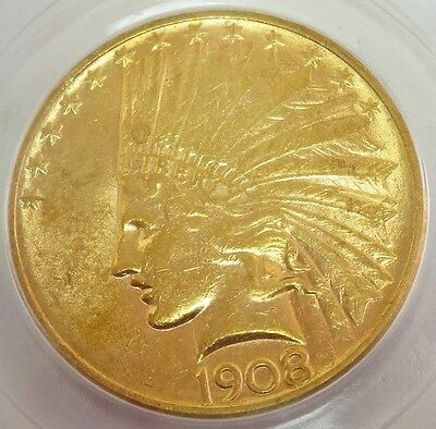 1908 D No Motto Gold United States $10 Indian Head Coin Pcgs About Unc 55