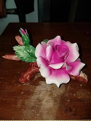 Vintage Authentic Made in Italy Capodimonte Pink Rose on Branch