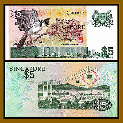 Singapore 5 Dollars, ND 1976 P-10 Red Whiskered Bulbul Unc