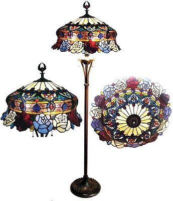 Floor Lamp 3 Light Victorian Tiffany Style Roses Stained Glass Bronze Finish