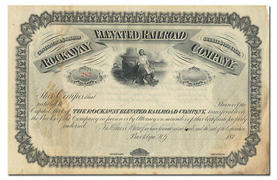 Rockaway Elevated Railroad Company Stock Certificate (1870's)