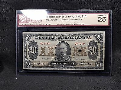 1923 Imperial Bank of Canada $20 Note - 375-18-10 - BCS VF-25 - N-113