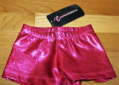 Perfect Balance Metallic Shorts Little Girls 4-6 Gymnastics Dance Fuchsia Foil