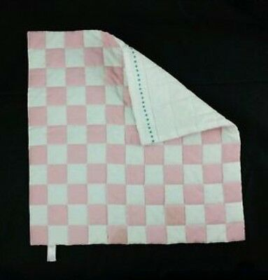 """Authentic American Girl ANGELINA BALLERINA'S QUILT 14"""" x14"""" Pink White Checkered"""