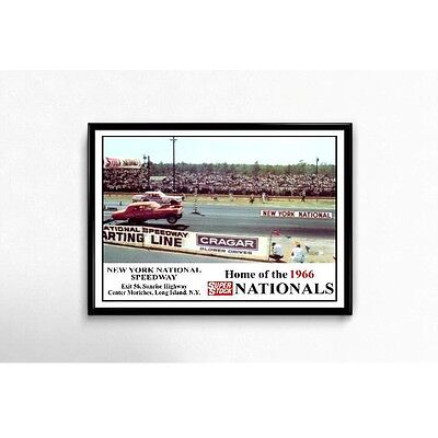 New York National Speedway 1966 Super Stock Nationals Poster Vintage NHRA