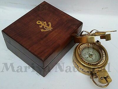 Military Compass Engineering Compass Prismatic Compass Brass Vintage Compass