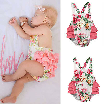 USA Newborn Infant Baby Girl Floral Romper bodysuit Sunsuit Beachwear Clothes