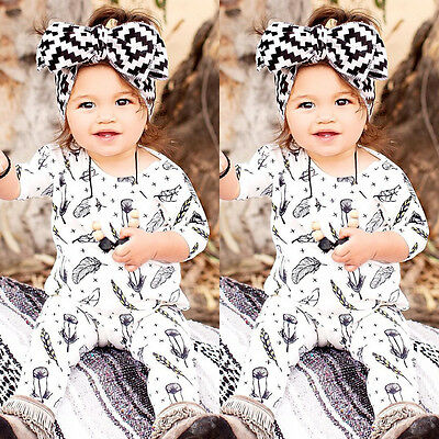 Kids Baby Girls Boys Feather Romper Bodysuit Jumpsuit Playsuit Outfits US Stock