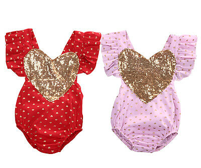 Sequins Heart Kids Baby Girl Romper Bodysuit Jumpsuit Playsuit Outfits US Stock