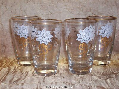 Vintage Libbey Glasses Set Clear Gold White Roses Ribbon 8 oz Water Juice Glass