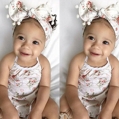 US STOCK Newborn Infant Baby Girl Floral Romper+Headband Bodysuit Clothes Outfit