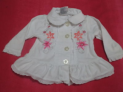 Baby Baby Girls Size 00 Jumper Jacket, White Floral Lace Ruffle Cute Winter