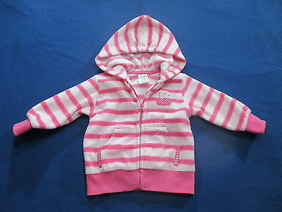 Baby Biz Girls Size 00 Jumper Hoodie, fleece striped casual cupcake jacket