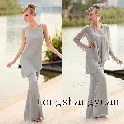 New Pants Suit Mother Of The Bride Dress +jacket Chiffon Formal Gowns Plus Size