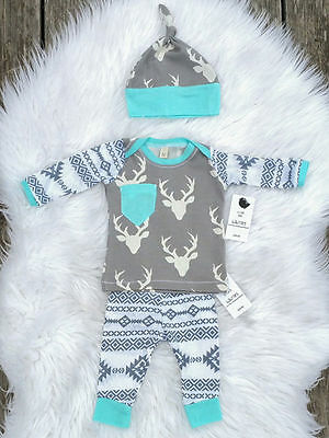 New Kids Baby Girl Boy Clothes Deer Tops T-shirt Pants 3pcs Outfits Set US Stock