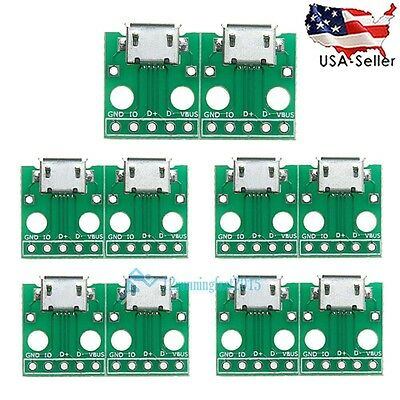 10pcs MICRO USB to DIP Adapter 5pin female connector B type pcb converter New!
