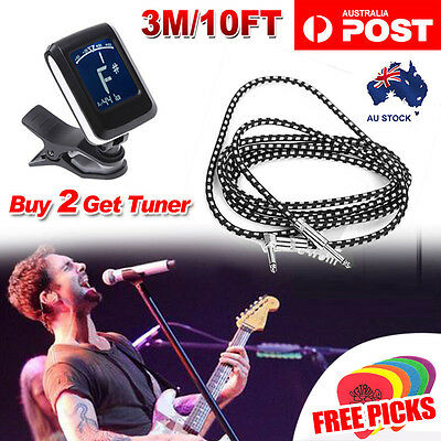 1X 2X 10FT 3M Braided Guitar Lead Cable 1/4 Inch 6.5mm Stereo Right Angled