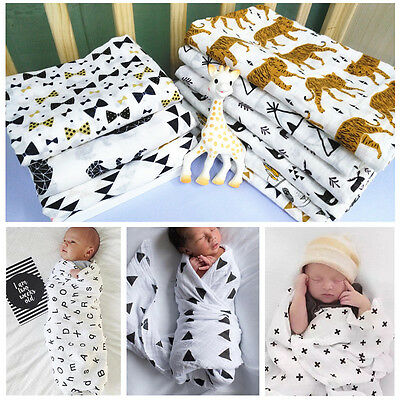 Soft Muslin Baby Swaddling Blanket Newborn Infant Cotton Swaddle Towel US Stock