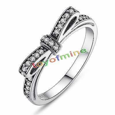 NOUVEAU 925 Sterling Sparkling Bow Ring Fit Women Authentic Jewelry
