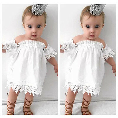 Kids Baby Girls Clothes Lace Dress Off-shoulder Party Dress Sundress US Stock