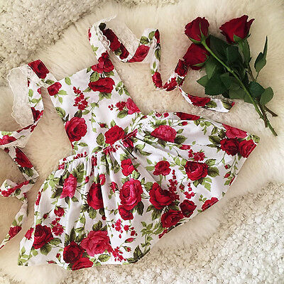 USA Floral Toddler Kids Girls Lace Flower Dress Summer Sundress Party Dresses