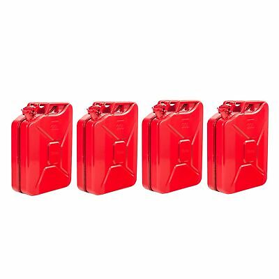 4 x 20L Red Fuel Diesel Petrol Oil Water Jerry Metal Tin Can