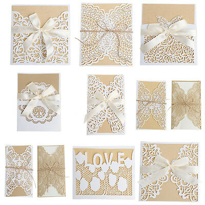 10Pcs Wedding Invitation Card Kit with Envelopes Seals Personalized Printing New