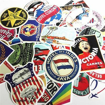 Vintage Style 55 Piece Luggage/Suitcase Travel Stickers B